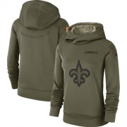 Wholesale Cheap Women's New Orleans Saints Nike Olive Salute to Service Sideline Therma Performance Pullover Hoodie
