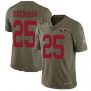 Wholesale Cheap Nike 49ers #25 Richard Sherman Olive Youth Stitched NFL Limited 2017 Salute to Service Jersey