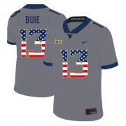 Wholesale Cheap West Virginia Mountaineers 13 Andrew Buie Gray USA Flag College Football Jersey