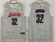 Wholesale Cheap Men's Los Angeles Lakers #32 Magic Johnson Retired Player Adidas 2015 Gray City Lights Swingman Jersey