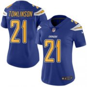 Wholesale Cheap Nike Chargers #21 LaDainian Tomlinson Electric Blue Women's Stitched NFL Limited Rush Jersey