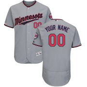 Wholesale Cheap Minnesota Twins Majestic Road Flex Base Authentic Collection Custom Jersey Gray