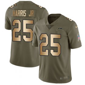 Wholesale Cheap Nike Chargers #25 Chris Harris Jr Olive/Gold Men\'s Stitched NFL Limited 2017 Salute To Service Jersey
