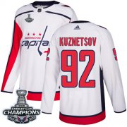 Wholesale Cheap Adidas Capitals #92 Evgeny Kuznetsov White Road Authentic Stanley Cup Final Champions Stitched NHL Jersey