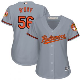 Wholesale Cheap Orioles #56 Darren O\'Day Grey Road Women\'s Stitched MLB Jersey