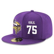 Wholesale Cheap Minnesota Vikings #75 Matt Kalil Snapback Cap NFL Player Purple with White Number Stitched Hat