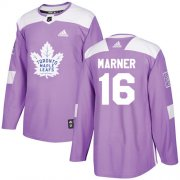Wholesale Cheap Adidas Maple Leafs #16 Mitchell Marner Purple Authentic Fights Cancer Stitched NHL Jersey