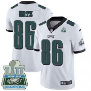 Wholesale Cheap Nike Eagles #86 Zach Ertz White Super Bowl LII Champions Youth Stitched NFL Vapor Untouchable Limited Jersey