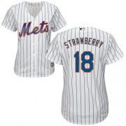 Wholesale Cheap Mets #18 Darryl Strawberry White(Blue Strip) Home Women's Stitched MLB Jersey