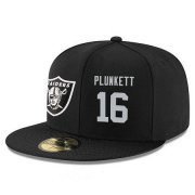 Wholesale Cheap Oakland Raiders #16 Jim Plunkett Snapback Cap NFL Player Black with Silver Number Stitched Hat
