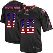 Wholesale Cheap Nike 49ers #16 Joe Montana Black Men's Stitched NFL Elite USA Flag Fashion Jersey