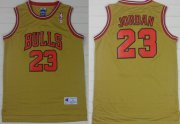Wholesale Cheap Chicago Bulls #23 Michael Jordan 1997 Gold Swingman Throwback Jersey