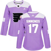 Wholesale Cheap Adidas Flyers #17 Wayne Simmonds Purple Authentic Fights Cancer Women's Stitched NHL Jersey