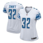 Wholesale Cheap Nike Lions #32 D'Andre Swift White Women's Stitched NFL Elite Jersey