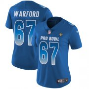 Wholesale Cheap Nike Saints #67 Larry Warford Royal Women's Stitched NFL Limited NFC 2019 Pro Bowl Jersey