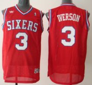 Wholesale Cheap Philadelphia Sixers #3 Allen Iverson Red Swingman Throwback Jersey