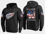 Wholesale Cheap Red Wings #40 Henrik Zetterberg NHL Banner Wave Usa Flag Black Hoodie