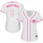 Wholesale Cheap Reds #9 Mike Moustakas White/Pink Fashion Women's Stitched MLB Jersey