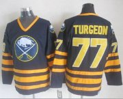 Wholesale Sabres #77 Pierre Turgeon Navy Blue CCM Throwback Stitched NHL Jersey