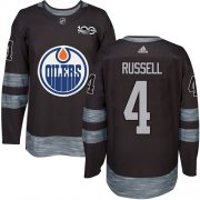 Wholesale Cheap Adidas Oilers #4 Kris Russell Black 1917-2017 100th Anniversary Stitched NHL Jersey