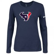 Wholesale Cheap Women's Nike Houston Texans Of The City Long Sleeve Tri-Blend NFL T-Shirt Dark Blue