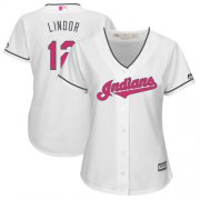 Wholesale Cheap Indians #12 Francisco Lindor White Mother's Day Cool Base Women's Stitched MLB Jersey