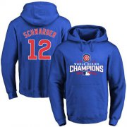 Wholesale Cheap Cubs #12 Kyle Schwarber Blue 2016 World Series Champions Pullover MLB Hoodie