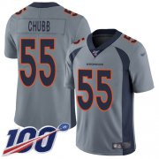 Wholesale Cheap Nike Broncos #55 Bradley Chubb Gray Men's Stitched NFL Limited Inverted Legend 100th Season Jersey