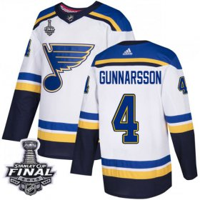 Wholesale Cheap Adidas Blues #4 Carl Gunnarsson White Road Authentic 2019 Stanley Cup Final Stitched NHL Jersey