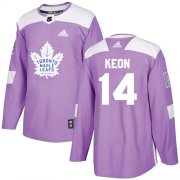 Wholesale Cheap Adidas Maple Leafs #14 Dave Keon Purple Authentic Fights Cancer Stitched NHL Jersey