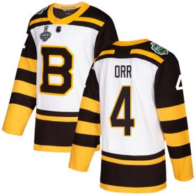 Wholesale Cheap Adidas Bruins #4 Bobby Orr White Authentic 2019 Winter Classic Stanley Cup Final Bound Stitched NHL Jersey