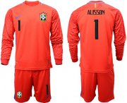 Wholesale Cheap Brazil #1 Alisson Red Goalkeeper Long Sleeves Soccer Country Jersey