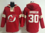 Wholesale Cheap New Jersey Devils #30 Martin Brodeur Red Pullover NHL Hoodie