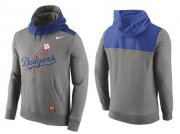 Wholesale Cheap Men's Los Angeles Dodgers Nike Gray Cooperstown Collection Hybrid Pullover Hoodie_1