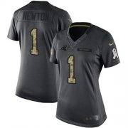 Wholesale Cheap Nike Panthers #1 Cam Newton Black Women's Stitched NFL Limited 2016 Salute to Service Jersey