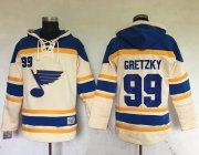 Wholesale Cheap Blues #99 Wayne Gretzky Cream Sawyer Hooded Sweatshirt Stitched NHL Jersey