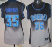 Wholesale Cheap Oklahoma City Thunder #35 Kevin Durant Black/Gray Fadeaway Fashion Womens Jersey
