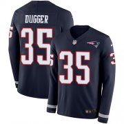 Wholesale Cheap Nike Patriots #35 Kyle Dugger Navy Blue Team Color Men's Stitched NFL Limited Therma Long Sleeve Jersey