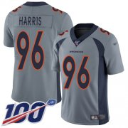 Wholesale Cheap Nike Broncos #96 Shelby Harris Gray Men's Stitched NFL Limited Inverted Legend 100th Season Jersey