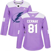 Cheap Adidas Lightning #81 Erik Cernak Purple Authentic Fights Cancer Women's Stitched NHL Jersey