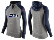Wholesale Cheap Women's Nike Seattle Seahawks Performance Hoodie Grey & Dark Blue_3