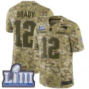 Wholesale Cheap Nike Patriots #12 Tom Brady Camo Super Bowl LIII Bound Youth Stitched NFL Limited 2018 Salute to Service Jersey
