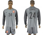 Wholesale Cheap Holland #24 Vermeer Grey Goalkeeper Long Sleeves Soccer Country Jersey