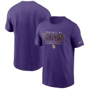 Wholesale Cheap Minnesota Vikings Nike Team Property Of Essential T-Shirt Purple