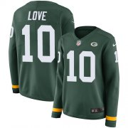 Wholesale Cheap Nike Packers #10 Jordan Love Green Team Color Women's Stitched NFL Limited Therma Long Sleeve Jersey