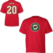 Wholesale Cheap Minnesota Wild #20 Ryan Suter Reebok Name and Number Player T-Shirt Red