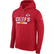 Wholesale Cheap Men's Kansas City Chiefs Nike Red Sideline ThermaFit Performance PO Hoodie