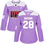Wholesale Cheap Adidas Senators #28 Connor Brown Purple Authentic Fights Cancer Women's Stitched NHL Jersey