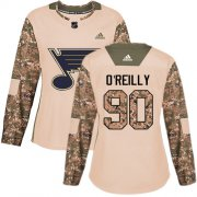 Wholesale Cheap Adidas Blues #90 Ryan O'Reilly Camo Authentic 2017 Veterans Day Women's Stitched NHL Jersey