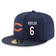 Wholesale Cheap Chicago Bears #6 Jay Cutler Snapback Cap NFL Player Navy Blue with White Number Stitched Hat